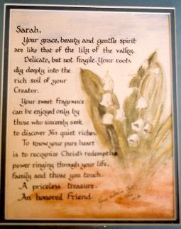 """Watercolor, pen, """"To Sarah"""""""